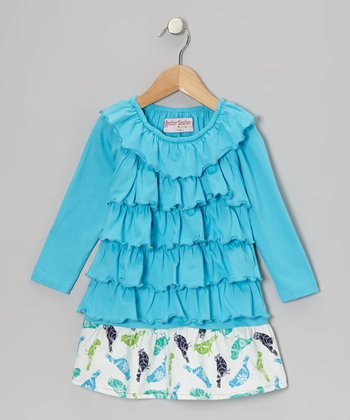 Blue Bird Ruffle Dress - Toddler & Girls