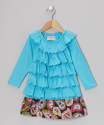 Blue & Brown Paisley Ruffle Dress - Toddler & Girls