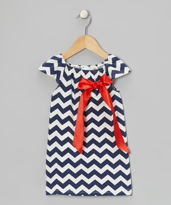 Navy & Red Zigzag Bow Dress - Toddler & Girls