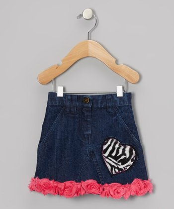 Dark Wash Zebra Heart Rosette Denim Skirt - Toddler & Girls