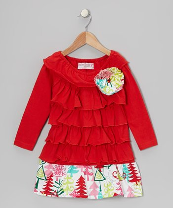 Red Evergreen Tree Ruffle Dress - Toddler & Girls