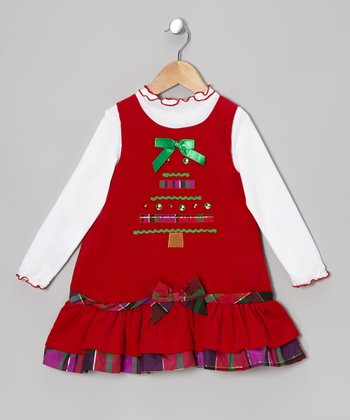 Red & White Tree Top & Corduroy Jumper - Toddler
