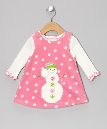 Pink & White Snowman Bodysuit & Fleece Jumper - Infant