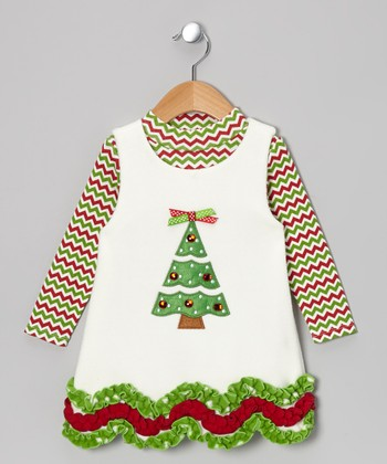 Ivory & Green Tree Top & Fleece Jumper - Infant