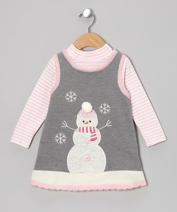 Gray & Pink Snowman Bodysuit & Knit Jumper - Infant