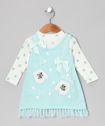 Aqua & Ivory Mittens Top & Knit Jumper - Infant