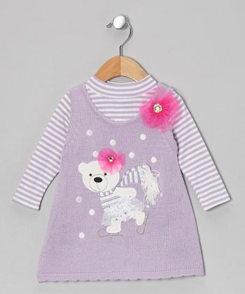 Lavender Skating Bear Bodysuit & Knit Jumper - Infant