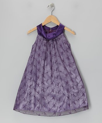Purple Lace Yoke Dress - Toddler & Girls