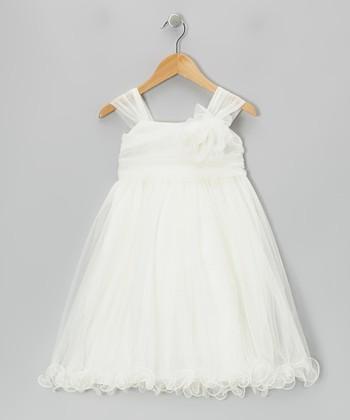 Ivory Flower Chiffon Babydoll Dress - Girls
