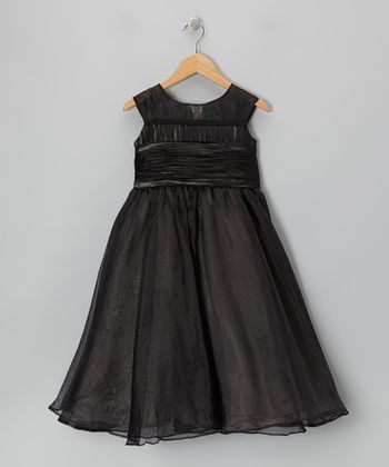 Black Tie-Back Cap-Sleeve Dress - Girls