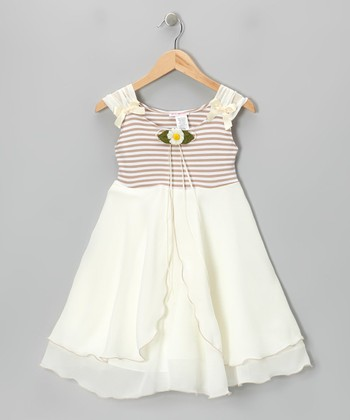 Champagne & Ivory Daisy A-Line Dress - Toddler & Girls