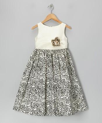 Ivory Graphic Rose Dress - Girls