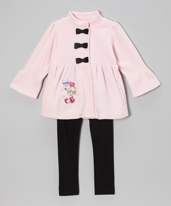 Pink & Black Fleece Jacket & Leggings - Infant & Toddler
