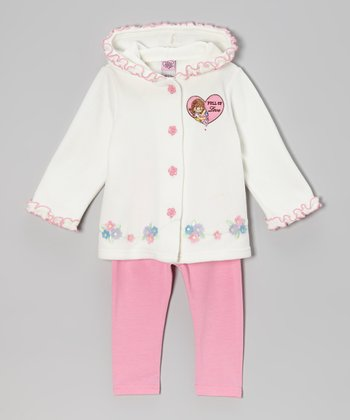 Cream 'Full of Love' Hooded Jacket & Leggings - Infant & Toddler