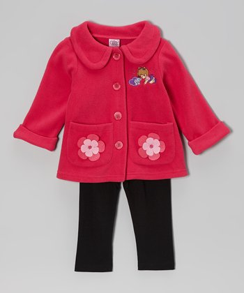 Pink Daisy Jacket & Black Leggings - Infant & Toddler