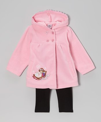 Rose & Black Hooded Jacket & Leggings - Infant & Toddler