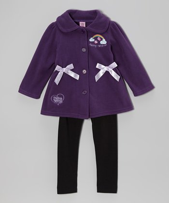 Purple & Black Bow Fleece Jacket & Leggings - Infant & Toddler
