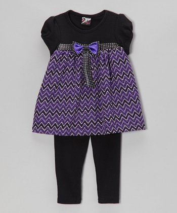 Purple Bow Tunic & Leggings - Infant & Girls
