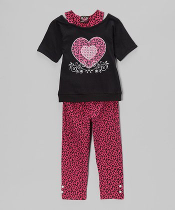 Black Layered Tunic & Leopard Leggings - Infant, Toddler & Girls