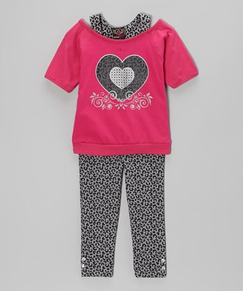 Fuchsia Heart Layered Tunic & Leggings - Infant, Toddler & Girls