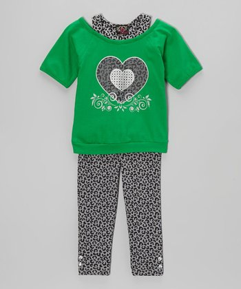 Green Heart Layered Tunic & Leggings - Infant, Toddler & Girls