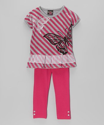 Fuchsia Stripe Tunic & Leggings - Infant, Toddler & Girls