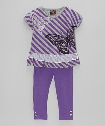 Purple Stripe Tunic & Leggings - Infant, Toddler & Girls