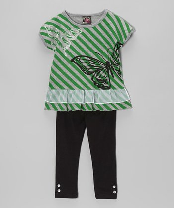 Green Stripe Tunic & Leggings - Infant, Toddler & Girls