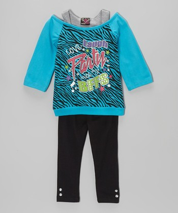 Turquoise 'BFF' Layered Tunic & Leggings - Infant & Toddler