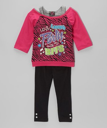 Fuchsia 'BFF' Layered Tunic & Leggings - Infant & Toddler