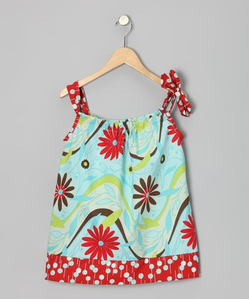 Light Blue & Red Sky Tie Dress - Infant & Toddler