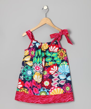 Pink Zebra Floral Tie Dress - Toddler