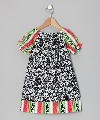 Black & White Damask Peasant Dress - Infant & Toddler
