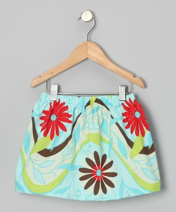 Light Blue & Red Sky Skirt - Toddler