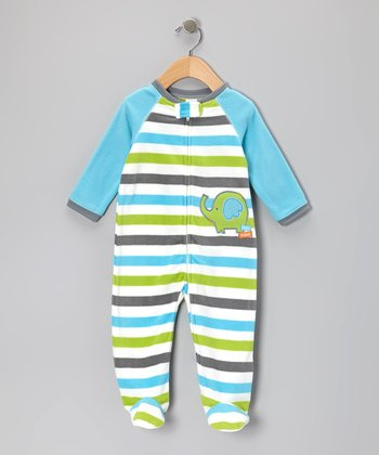 Turquoise & Lime Stripe Elephant Footie - Infant