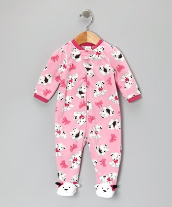 Pink Dalmatian Footie - Infant