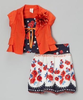 Orange & Black Blossom Skirt Set - Toddler & Girls