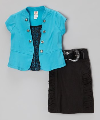 Blue Short-Sleeve Jacket Set - Toddler & Girls
