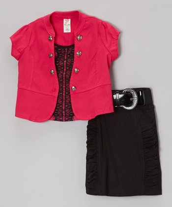 Pink Short-Sleeve Jacket Set - Toddler & Girls