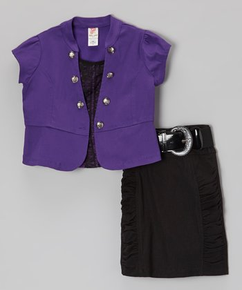 Purple Short-Sleeve Jacket Set - Toddler & Girls