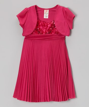 Pink Pleated Dress & Puff-Sleeve Shrug - Toddler & Girls