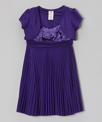 Purple Pleated Dress & Puff-Sleeve Shrug - Toddler & Girls