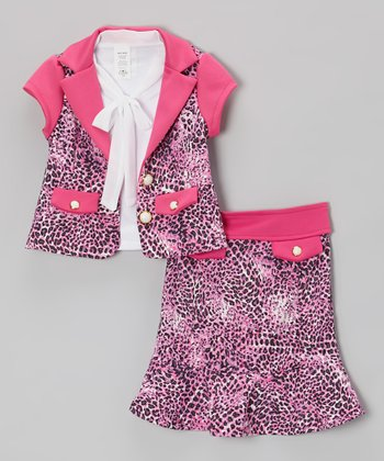 Pink Leopard A-Line Skirt Set - Toddler & Girls