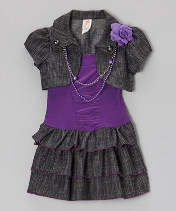 Purple Ruched Dress & Shrug - Toddler & Girls