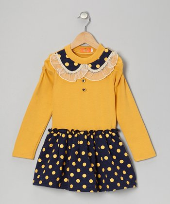 Yellow Polka Dot Collared Dress - Toddler & Girls