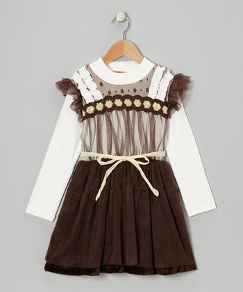 Brown Tulle Angel-Sleeve Dress - Toddler & Girls