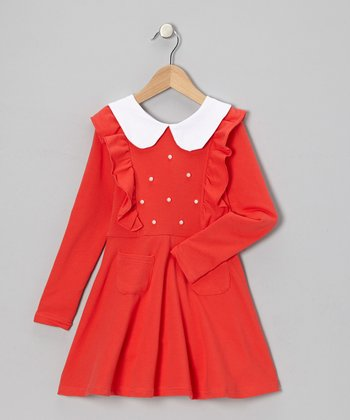 Red Pearl Ruffle Collared Dress - Toddler & Girls