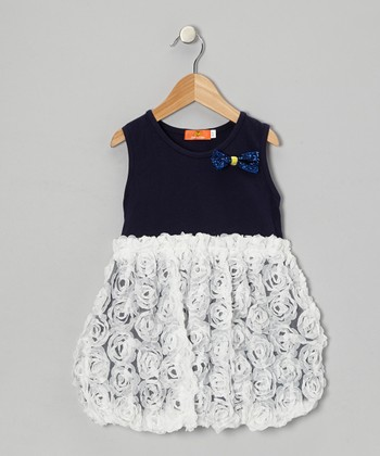 Blue & White Rosette Bubble Dress - Toddler & Girls