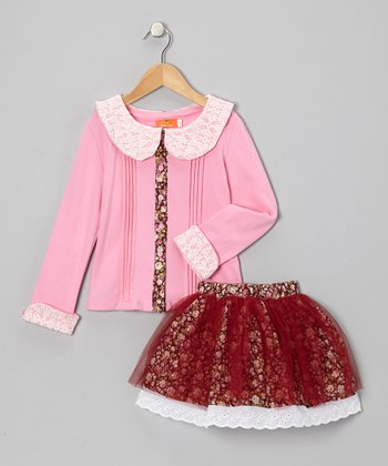 Pink Collared Top & Rust Floral Skirt - Toddler & Girls