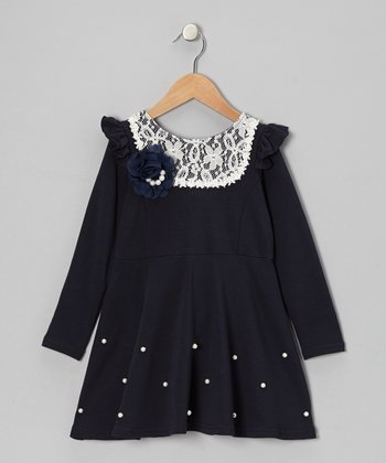 Navy Blue Ruffle-Shoulder Dress - Toddler & Girls